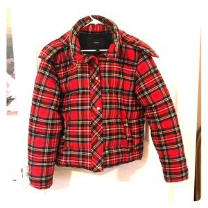 Red plaid winter coat